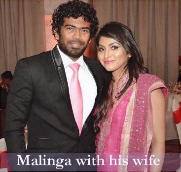 Lasith Malinga with his wife