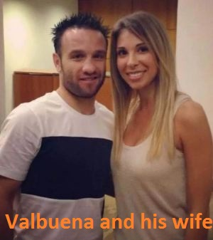 Mathieu Valbuena with his wife