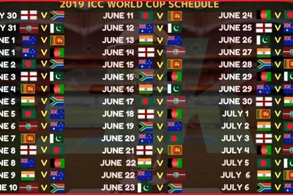 ICC Cricket world cup 2019 schedule, match, timetable, team details