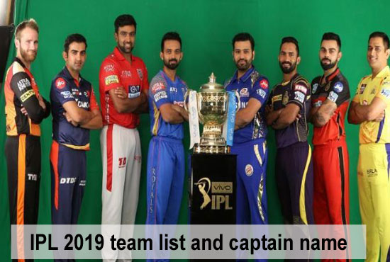 IPL 2019 teams list, captain, coach, and full details