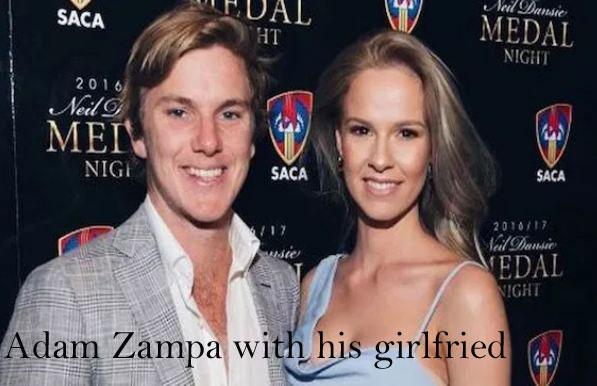 Adam Zampa with his girlfriend