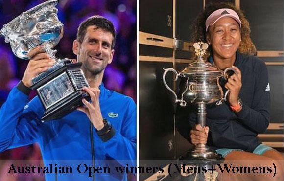 Australian Open winners men's singles and also women's singles