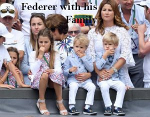 Roger Federer with his children