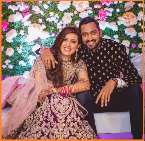 Krunal Pandya with his wife