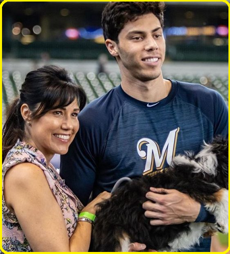 Christian Yelich with his girlfriend
