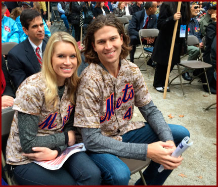 Jacob deGrom with his wife