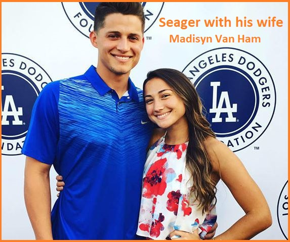 Corey Seager with his wife