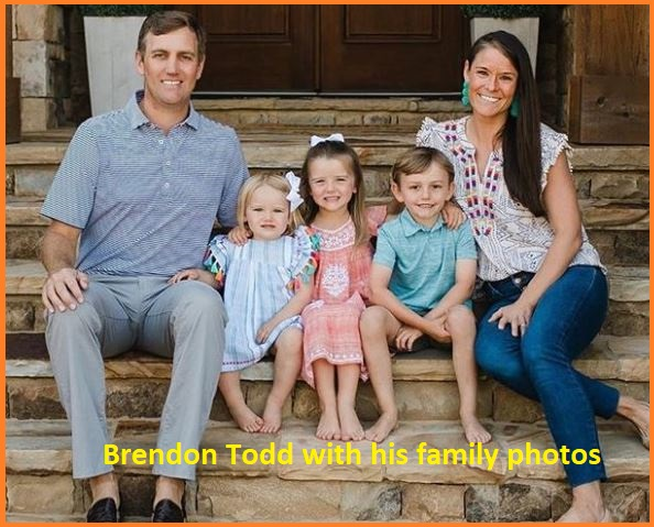 Brendon Todd with his wife and family