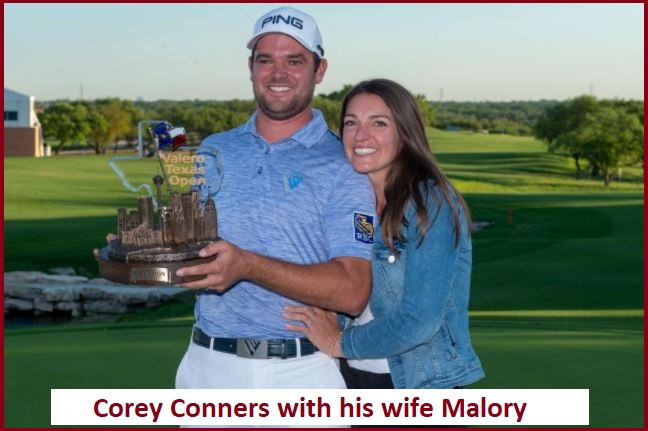 Corey Conners with his wife