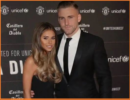 Luke Shaw with his girlfriend