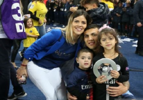 Leandro Paredes with his wife and children