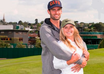 Reece Topley with his girlfriend