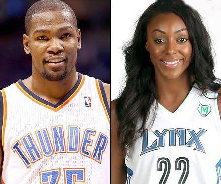 Kevin Durant with his girlfriend