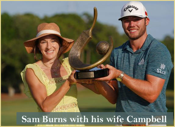 Sam Burns with his wife