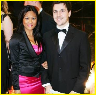 Timo Boll with his wife